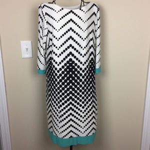 STUDIO ONE Black White Dots Turquoise Trim Shift